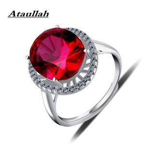 Ataullah Oval Red Ruby Rings Silver 925 Jewelry Gemstone Ring With CZ 18k Rose Gold Plated Vintage Fine Jewelry for Woman RW108