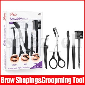 Nuovo trucco del sopracciglio UTENSILE corredi 5pcs / set Brow Forbici Tool Set Cosmetic sopracciglia Rasatura Accessori coltello con la scatola di vendita al dettaglio