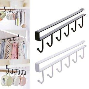 6 Hooks Cup Holder Hang Kitchen Cabinet Under Shelf Storage Rack Organiser Hook
