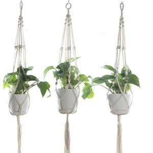 Plant Hangers Macrame Flower Pots Holder Rope Braided Hanging Planter Basket Home Garden Decor 8 Designs Optional DHA270