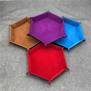 Hexagonal caja de almacenamiento de escritorio PU cuero plegable caja de almacenamiento dados plegable Rolling bandeja para juegos de mesa