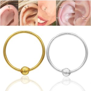 925 Anillo de la nariz de plata de ley Piercing Nariz Hoop Body Jewelry 22G Gold Silver 16pcs / Pack