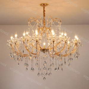 Kristal Avize K9 Altın 25 Kafa E14 Mumlar Kapalı LED Kolye Asılı Işık Lambası Cafe Restaurant Hotel 110 V 220 V DHL