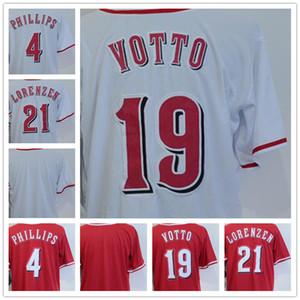 2018 Men's 19 Joey Votto 4 Brandon Phillips 21 Michael Lorenzen Blank Red White Cool Base Baseball Jerseys Hongren Game Wholesale Cheap