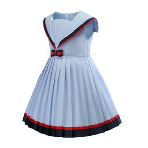 자녀의 스커트 쌰 해군 칼라 색상 충돌 대학 바람 여자 0,201 드레스 주름 치마 공주 스커트 타이드