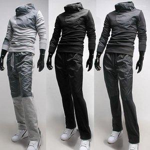 Mit Kapuze Patchwork Langarm Bekleidung Aktiver Stil Tunnelzug Beiläufiges Tracksuits Mens Designer Kontrast-Farben-2pcs Anzug