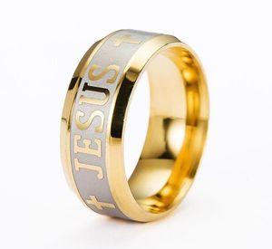 Religious Christian Ring Stainless Steel Russian Jesus Cross Ring GOD SAVE US Amulet Ring for Men