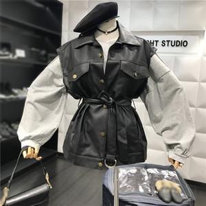 Automne Hiver Femmes Veste motard Bouton Pu Motos Manteau en cuir sans manches Basic Black Gilet Veste Gilet