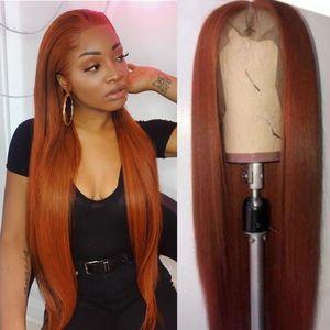 PAFF Оранжевый блондинку 13x6 фронта шнурка парик человеческого Цветное человеческих волос прямые волосы парики шнурка Remy бразильский парик для женщин