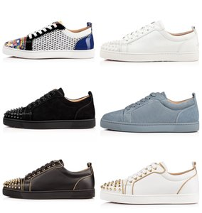 Chaussures Designer Red Bottom Low Cut Spikes Flats Chaussures pour homme femme Chaussures en cuir Chaussures Casual avec sac à poussière Party Sneaker mariage