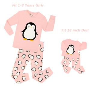 2018 nuovi bambini pinguino pinguino set con bambola pigiama bambino unicorno pigiameria ragazze principessa pigiama bambini natale pigiama J190520