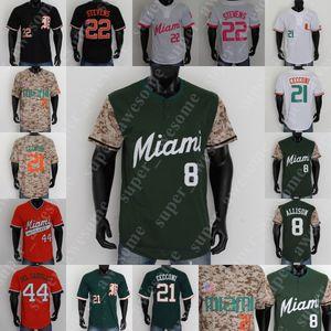 Miami Hurricanes Baseball Jersey 28 Lala Tony Jenkins Adrian Del Castillo Raymond Gil Alex Toral Alex Ruiz Gabe Rivera Tyler Paige JP Portões
