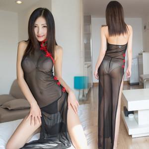 Lencería sexy transparente de malla negra con falda de halter sexy para mujeres seductoras vestido largo estilo de comercio exterior europeo y estadounidense qipao