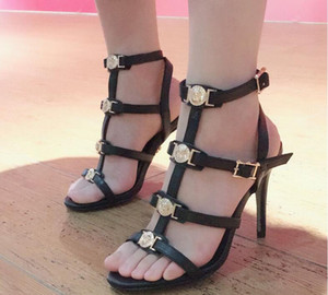 Femmes été sandales de mode marque Sexy talon haut à bout ouvert en cuir véritable bandage creux Rome Clip orteil plat chic De luxe sandales femme