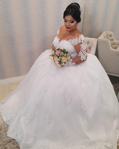 White Lace Appliques Plus size Ball Gown Wedding Dresses Long Sleeves Lace Up Back Wedding Gowns Bride Dresses robe de marie