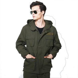 Men Hooded Jacket Thick Trench Coat Big Pocket Army Green Sportswear Tradital Outwear Male Fashion Clothes