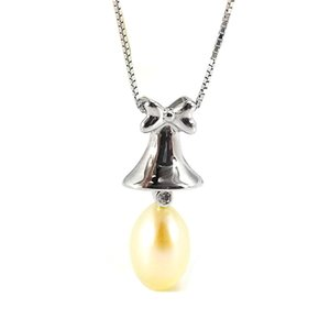 Solid 925 Sterling Silver Drop Pearl Pendant Necklace Setting Mounting Base for Women Bell Semi Mount Women's Jewelry DIY Findings DZ064
