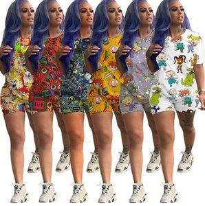 디자이너 여성 2 종 세트 만화 인쇄 운동복 T 셔츠 반바지 스포츠 정장 넥타이 염료 T 셔츠 바지 스포츠웨어 여름 캐주얼 의류 (892)