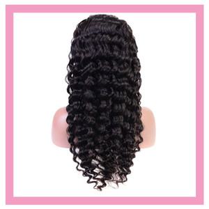 13X4 Парик Индийский Raw Human Virgin Hair Lace Front Deep Wave Парик фронта шнурка 8-24inch Deep завитые оптом