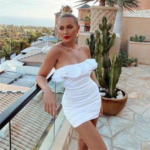 Разрез шея платья мода сплошного цвета платье без рукавов женской одежды конструктора женщин Плиссированного Ruffle платье сексуального