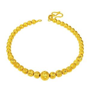 Hot Golden Buddha Scrub Bead Bracelet Polish Bola Pulseira com corrente de extensão Belas Latão jóias de alta qualidade