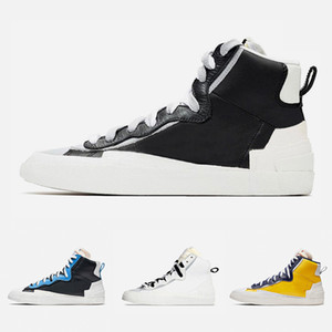 Nike Sacai X Blazer Mid With Dunk Mens Running Shoes High Cut White Grey Black University Blue Varsity Maize men sports sneakers 40-45