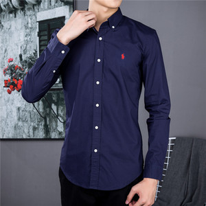 European and American men's Brand business casual shirt Buxury thin cotton social long sleeve shirt Design pony standard POLO shirt
