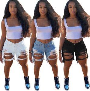 Agujeros manera de las mujeres pantalones cortos de mezclilla rasgado de la borla de las mujeres de los tejanos Negro para adelgazar lavado pantalones rectos ocasionales del verano del diseñador Jeans 823