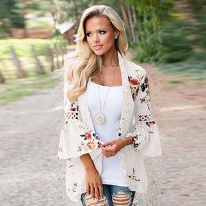Bell Sleeve Splice Coats Cardigan Womens Vestuário Lace Impressão Multicolor Rodada Neck Slim Fit Oco Poliéster 28