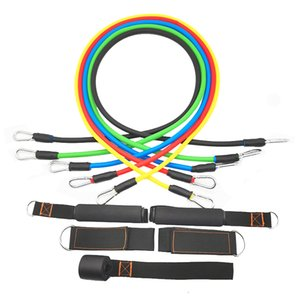 11 Pcs Set TPE Exercise Resistance Bands Fitness Yoga Training Pull Rope Tubes Sports Chest Expander Pilates Workout with Bag