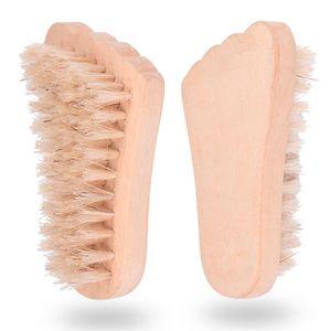Горячий продавая тип ног Кабан щетина щетки для ногтей Natural свиная щетина Щетка для очистки деревянных массажной щеткой T9I00119