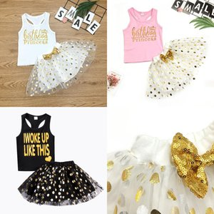 Children's Clothing New Wummer English Print Vest Bow Tutu 3 Color Girl Suit