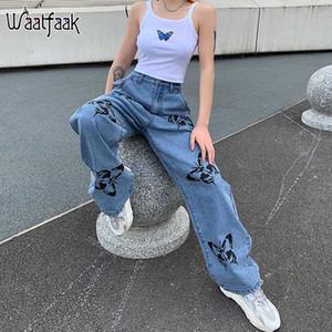 Waatfaak vita alta pantaloni dei jeans per le donne rigonfio casuale Blue Butterfly stampati a gamba larga pantaloni in denim Streetwear jeans delle signore 2020