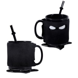 Ninja Cup Mug Ceramica tazza di caffè con un cucchiaio sottobicchiere Mats Ninja Mask Milk Tea Drinking Cup Kitchen Bar Strumenti 4pcs natale di Halloween / Set XD21761