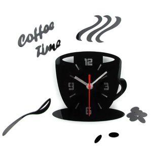 Acrílico Relógio de parede Modern Kitchen Home Decor 3D DIY Coffee Melhor Time Clock Cup