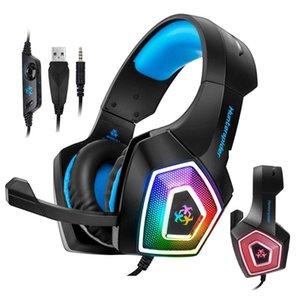 Профессиональная игровая гарнитура Hunterspider V1 Stereo Bass Surround наушники красочный засветиться Gamer светящихся наушников для PS4 Xbox One PC
