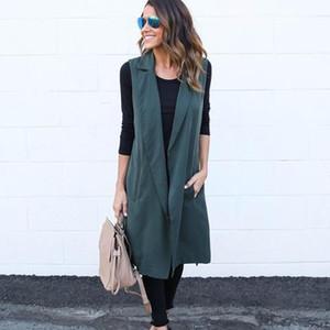 Tasarımcı Panelli Bayan Yelek Moda Kolsuz Kemer Uzun Ceket Ile Avrupa ve Amerikan Tarzı Donna Rahat Giysiler