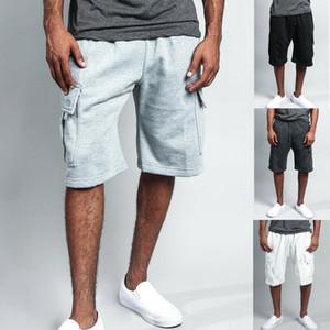 Mode Hip Hop Männer Capri Kurzhosen Baggy Cargo-Seil Shorts Strand Workout Shorts Taschen-elastische Taillen-Baumwolle Halbhosen
