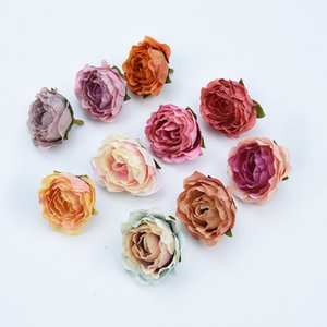 5pcs 4cm Silk Retro roses heads vases for decoration wedding car home fake floristics artificial flowers wall diy gifts brooch