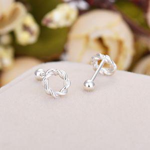 Ma Hua ear nail girl S925 pure silver ear ornaments Korea version simple fresh element silver screw ball earrings new style