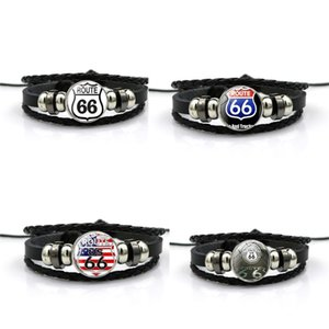 EUA Route 66 Braceletes Punk Retro multicamada pulseiras de couro para mulheres dos homens Personalizar Cuff Bangles Jóias Presentes