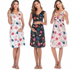 Hamile kadınlar emziren 2020 Güzel kadın V yaka kısa kollu moda Üst Kadınlar Yaz Zarif elbise Hemşireliği dress