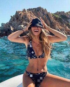 bikini de lujo nuevo diseñador de moda carta carta de traje de baño de la marca de la cintura del vendaje de tres puntos de la mujer traje de baño sin respaldo chaleco atractivo del bikini