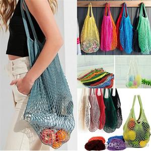 Mesh Net Shopping Bags Fruits légumes Portable Pliable ficelle de coton réutilisable sacs en filet tissé fourre-tout pour les sacs de cuisine Mêle stockage I271