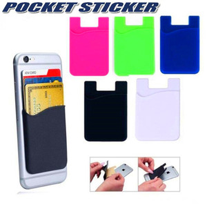 Silicone Wallet Credit Card Cash Pocket Sticker 3M Adhesive Stick-on ID Credit Card Holder Pouch For iPhone Samsung Mobile Phone