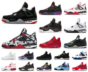 Hot 4 Hommes 4S Jumpman Chaussures de basket-Bred Ailes Encore feu rouge Singles Furtif Oreo Blanc Ciment hommes Designer Sneakers Taille US 7-13