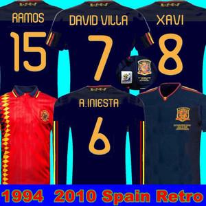 final de 2010, a Espanha retro camisa Copa do Mundo Player1994 RAUL XAVI LUIS ENSRIQUE XAVI ALONSO 2010, a Espanha Long Sleeve Retro DAVAD David Villa