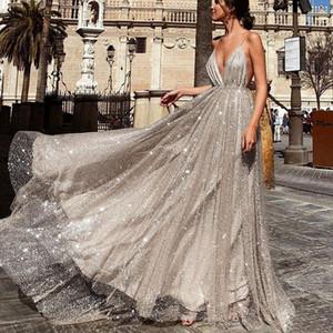 Sevintage Shinny Tulle A Linha Backless Vestidos V-Neck Spaghetti Praia Prom Mulher Vestidos Abendkleider Custom Made