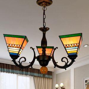Vitray 3 Işıklar Sarkıt Yaratıcı Tiffany Cam Süspansiyon Işıklar Yatak odası Restoran Mutfak Otel Bar Işıklar