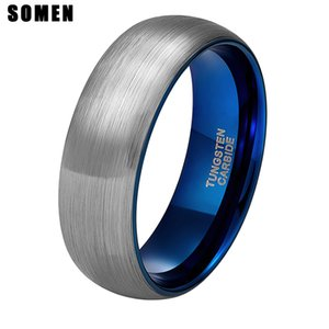 Somen 8mm Nastro Tungsteno Spazzolato Anello Blu Intarsio Wedding Band Fidanzamento Amore Anelli Moda Uomo Gioielli Bague Homme J190625